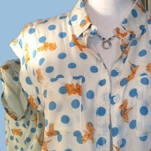 Velvet Heart Button Down Goldfish Blue Polka Dots